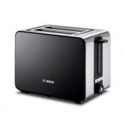 Prajitor de paine Bosch TAT7203, 1050 W, 2 felii, gratar chifle (Negru/Inox)