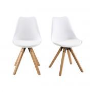 Miliboo Chaise design blanc et pieds bois clair lot de 2 NADJA