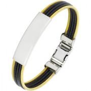 Id Biker Rope Black 316L Surgical Stainless Steel 18K Gold Plated Kada Bangle Bracelet For Men