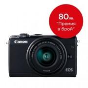 "Canon EOS M100 (черен) в комплект с обектив EF-M 15-45mm f/3.5-6.3 IS STM, 24.2 Mpix, 3,0"" (7.62 cm) сензорен TFT дисплей, Bluetooth 4.1, Wi-Fi/NFC, SD/SDHC/SDXC слот, USB"