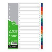 Treeline A4 File Divider Plastic Tab1-12, Retail