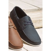 Mens Next Perforated Boat Shoe - Navy