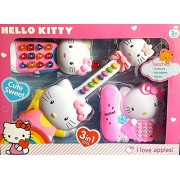 Kids 3 in 1 Musical & Sound Funny Hello Kitty Playset with Guitar Mobile Phone and Telephone