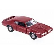 Welly 1969 Pontiac GTO, Red - 43714D 4.5' Diecast Model Toy Car
