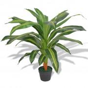 vidaXL Plantă Dracena artificială cu ghiveci, 90 cm, verde