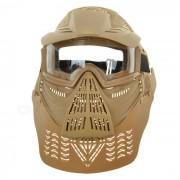 Al aire libre juego de guerra CS proteccion de la cara completa mascara de la lente sombrero Headwear - Tan