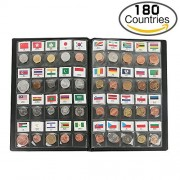 Classic Gifts 180 Countries Coins Collection Starter Kit Authentic Coins Original Genuine World Coin with Leather Collecting Album Taged by Country Name And Flag by Zcccom