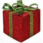 Decoratiune cadou craciun rosu panglica verde sclipici