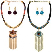 Spargz Thick Rope Beads Alloy Chunky Statement Tassel Pack Of 2 Necklace Set For Women COMBO 670