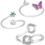 Mahi Rhodium Plated Combo of 3 Glamorous Finger rings Combo with Cubic Zirconia and Crystal Stones CO1104755R