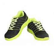 Crafts Black And Parrot Green Sports Shoe For Men