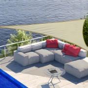 Toldo Vela 5 x 5 x 5 m Triângulo Cor: Creme Guarda-sol Varanda Jardim Campismo