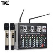 TKL DSP8 Mezclador de 7 Canales con Amplificador de Potencia y micrófono inalámbrico 3 en 1 DJ Mezcla de Sonido 600 W + 600 W Amplificador Potente 48 V Phantom Power para Escenario Home Karaoke