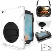 360 graden rotatie siliconen beschermhoes met houder en hand riem en lange riem voor iPad 5/iPad Air (wit)