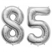 Stylewell Solid Silver Color 2 Digit Number (85) 3d Foil Balloon for Birthday Celebration Anniversary Parties