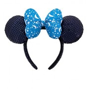 Disney Park Exclusive Minnie Mouse Blue Bow Sequin Ears Headband