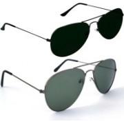 Fash-On India Aviator Sunglasses(Black, Green)