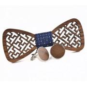 Dřevěný motýlek s manžetovými knoflíčky Gaira 709036