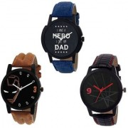R P S fashion new Black dial letest model for combo pack of 3 men watch