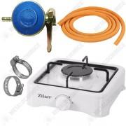 Pachet - Aragaz Zilan, Alb, Cu un ochi + 2m furtun pentru gaz + 2 x coliere pentru furtunul pentru gaz + Ceas pentru butelie