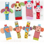 SaiDeng 8pcs Cartoon Rattle and Socks Cute Wrist Rattles and Foot Finder Set Soft Plush Monkey Elephant Piggy Dog Gift Early Educational Toy for Infant Toddler Baby, 4pcs Rattle & 4pcs Socks