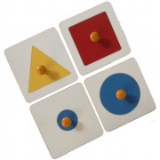 Kido Toys Wooden Pegged Single Shape Puzzle: (Set of 4 Geometric shapes)