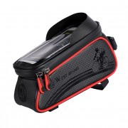 WEST BIKING Waterproof Bicycle Phone Bag Bike Front Bag Pannier with Touch Screen Shield - Red