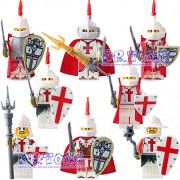 Generic DR.Tong Medieval Castle Knights Blue King Knight Bule Lion Golden Dragon Heavy Shield Building Blocks with Weapon Gift Toys 9818A to H