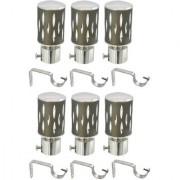 Hans Enterprise Mendi Set of 6 Stainless Steel Single Curtain Rod Bracket pack of 12