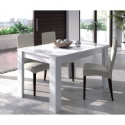 CAESAROO Table 140x90 Cm Blanc Brillant Extensible Blanc Brillant