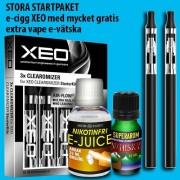 Stora startpaket med 2 st e-cigg XEO coil och mycket gratis extra vape e-vätska