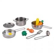 KidKraft Deluxe Cookware Set, Silver (11 Pieces)