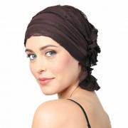 Chemo Beanies® - Headwear Covers for Hair Loss Janice (Chocolate Brown Ruffle)