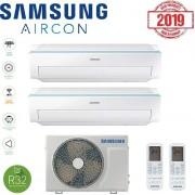 Samsung Climatizzatore Condizionatore Samsung Inverter Dual Split Ar6500m R-32 9000+9000 Con Aj050ncj Smart Wifi - New 2019 9+9
