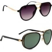 Hupshy Retro Square, Round Sunglasses(Violet, Green)