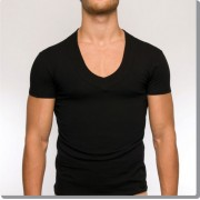 Modus Vivendi Pure Low V Neck Short Sleeved T Shirt Black 17041