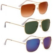 Phenomenal Retro Square Sunglasses(Brown, Green)