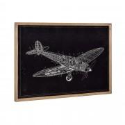 [art.work] Designový obraz na stěnu - hliníková deska - letadlo (nákres) - zarámovaný - 50x70x2,8 cm