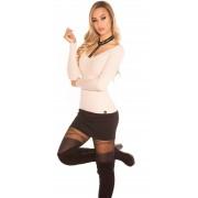 Cosmoda Collection Trendy v-hals sweater-trui met choker & klinknagels antiekroze