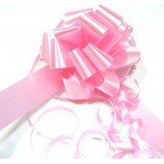 A pack of 4 x BABY PINK 30 mm SATIN PULL BOW COPY
