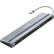 Canyon Multiport Docking Station with 14 ports: Type c data+Audio+Type C PD3.0 100W+SD+TF+2*USB3.0+USB2.0+RJ45+2*HDMI+VGA+DP+Loc