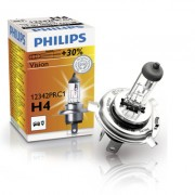 Bec auto cu halogen pentru far Philips Vision +30% H4 12V 60/55W P43t-38 , 1 buc. Kft Auto