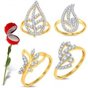 Sukkhi Valentine Collection Pleasing Gold & Rhodium Plated CZ Combo With Rose Box For Women Pack Of 4