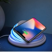 XOOMZ S18 5-color Switching Night Light + Wireless Qi Charging Stand Pad for iPhone X/8/8 Plus etc. - Grey