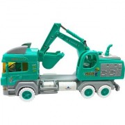 Emob 27 cm Long Excavator Truck with Friction Wheels and Moving Body Parts Construction Toy (Green)