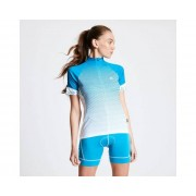 Women's AEP Elaborate Full Zip Cycling Jersey Fresh Water Blue Stripe Print