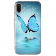 Capa Silicone Brilha no escuro para iPhone X / iPhone XS - Borboleta Azul