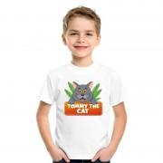 Bellatio Decorations Katten dieren t-shirt wit voor kinderen
