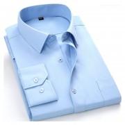 Camisas De Hombre De Negocios De No Plancha De Color Sólido -Azul