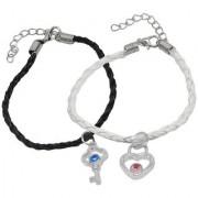 Men Style Best Friend Crystal Heart Lock Key Couple Handmade Loves White Black Zinc Leather Bracelet